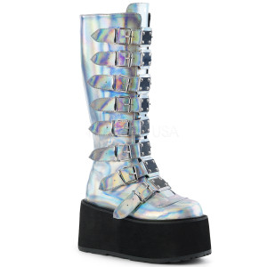 Knee High Hologram Boots w/ Platform Buckles and Straps