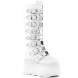 Knee High White Vegan Boots w/ Platform Buckles and Straps
