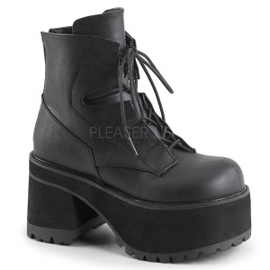 Ankle High Black Vegan Boots w/ Detail Features