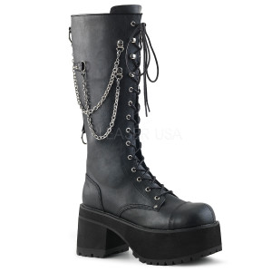 Knee High Black Vegan Boots w/ Platform and Chains