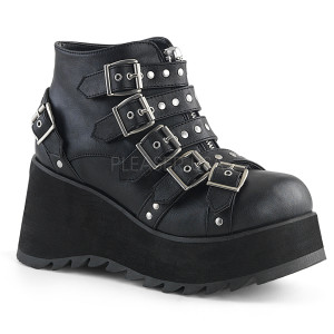 Ankle High Black Vegan Boots with  Straps and Buckles