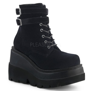 Ankle High Black Velvet Boots w/ Platform and Straps