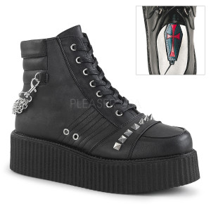 Ankle High Black Vegan Creeper Boots w/ Straps and Zippers