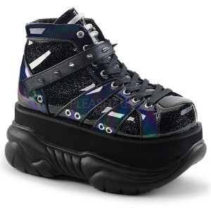 Black Hologram Platform Sneakers with  Straps