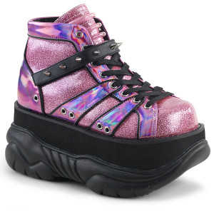 Pink Hologram Platform Sneakers with  Straps