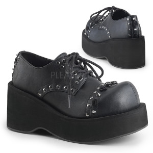 Black Vegan Platform Shoes w/ Studs and Roses