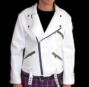 Dr. Frankenstein - Faux Leather White Biker Jacket