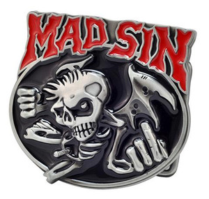 Mad Sin Skeleton Metal Belt Buckle