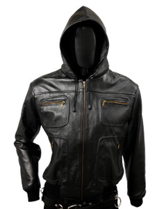 Solo Piel - Black Biker Leather Jacket Belgica w/ Removable Hood