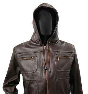 Solo Piel - Brown Biker Leather Jacket Belgica with  Removable Hood