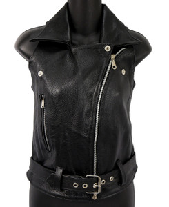 Solo Piel - Women's Black Biker Leather Vest