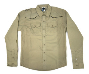 Antifashion - Khaki Long Sleeve Button-Up Shirt