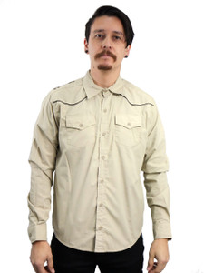 Antifashion - Khaki Long Sleeve Button-Up Shirt