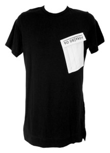 To Destroy - Asymmetrical Black T-Shirt w/ White Pocket
