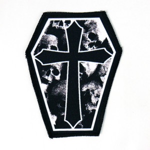 "Go Rocker - Skulls and Gothic Cross 6.75x3.5"" Coffin Patch"