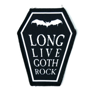 "Go Rocker - Long Live Goth Rock 6.75x3.5"" Coffin Patch"