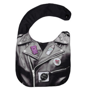 Go Rocker - Leather Jacket with  Pins Baby Bib