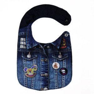 Go Rocker - Denim Jacket with  Pins Baby Bib