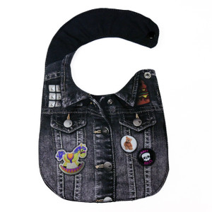 Go Rocker - Black Denim Jacket with  Pins Baby Bib