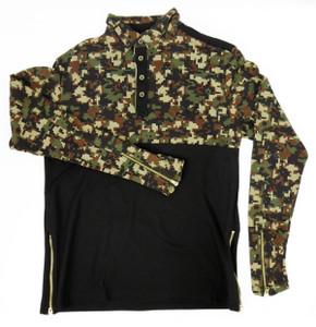 Fango Clothing - Long Sleeve Polo Shirt with  Digital Cammo Pattern
