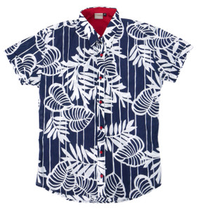 Fango Clothing - Blue Short Sleeve Button Shirt hawaiian style