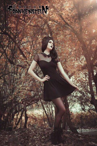 Dr. Frankenstein - Black Dress with Mesh Shoulders