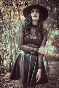 Dr. Frankenstein - Black Vinyl Skirt w/ Witch Symbols
