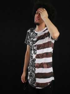 Poizon Clothing - Stripped and Splatter Design T-Shirt