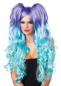 Violet with Aqua Blue Ends and Pig Tails Wig