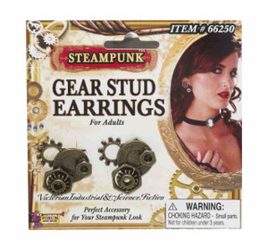 Steampunk Gear Stud Earrings