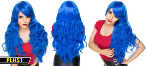 Blue Long and Wavy Wig