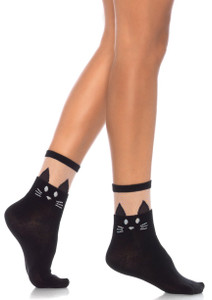 Leg Avenue - Black Cat Anklet Socks