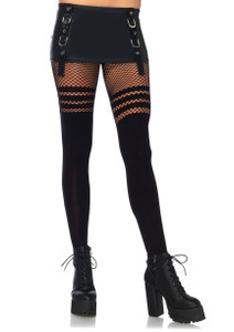 Leg Avenue - Seamless Thigh High Pantyhose with  Fishnet