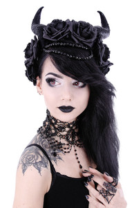 Restyle Clothing - Evil Queen Horns with  Flowers Crown
