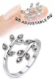 Adjustable Clear Leaf Band Ring