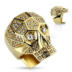 Gold Skull Ring with  Crystals