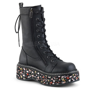 Black Boots with  Flower Pattern Platform