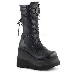Black Vegan Boots with  High Buckle & Ring Lace Tie