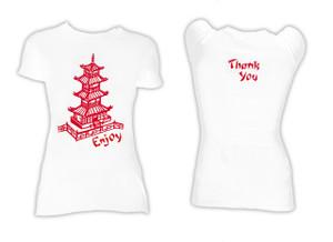 Chinese Food Box Print Blouse T-Shirt
