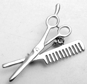 "Scissors and Comb 3"" Metal Badge"