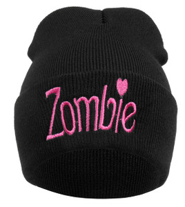 Pink Zombie Embroidered Knit Beanie