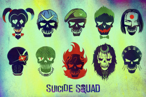 "Suicide Squad Character Emblems 18x12"" Poster"