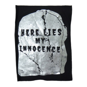 "Here Lies My Innocence Foil Print Backpatch ""Misprint"""