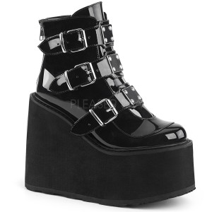 Ankle Boot Featuring Triple Buckle Straps with Metal Plate
