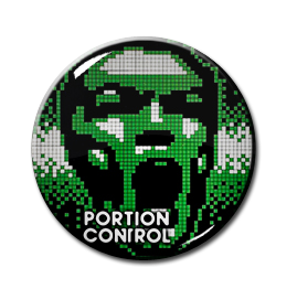 """Portion Control - Pixelated Face 1"""" Pin"""