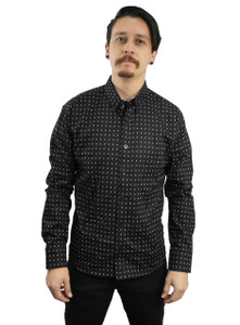 Fango Clothing - Black Long Sleeve Button Shirt with Square Pattern