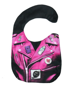 Go Rocker - Pink Leather Jacket with Pins Baby Bib