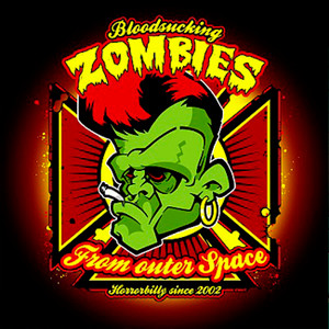 "Bloodsucking Zombies From Outer Space - Horrorbilly Since 2002 4x4"" Color Patch"