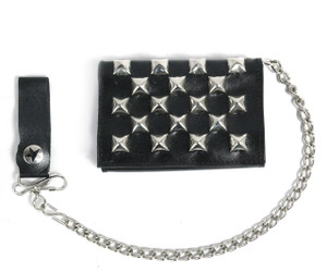 Black Wallet with Pyramid Studs