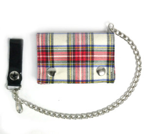 White and Red Plaid Wallet